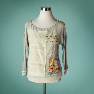Anthro Tiny XS Gray Patchwork Embroidered Top